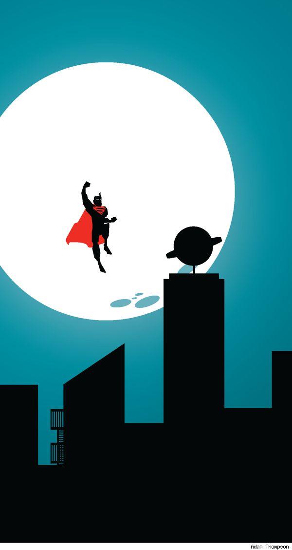 Adam Thompson's minimalist Deco-inspired poster of Metropolis. Superman