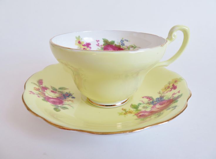 Vintage Foley Teacup and Saucer, EB Foley Yellow Teacup with Pink Roses, Gift for Tea Lover, Foley Bone China, Tea Party, Made in England by OtterValleyVintage on Etsy