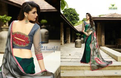 Green And Grey Printed Georgette Saree(Rf20046) Sarees on Shimply.com