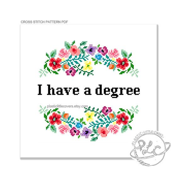 I have a degree. Modern floral graduation by plasticlittlecovers