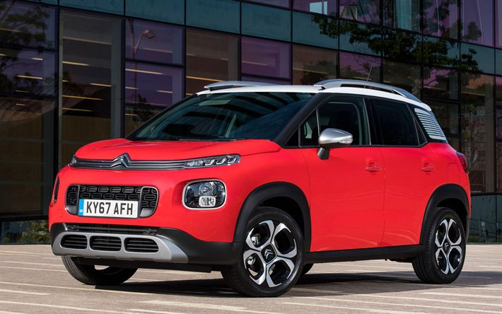 Download wallpapers Citroen C3 Aircross, 2018 cars, crossovers, red C3 Aircross, Citroen