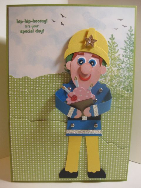 Stampin Up Punch art Fireman Sam