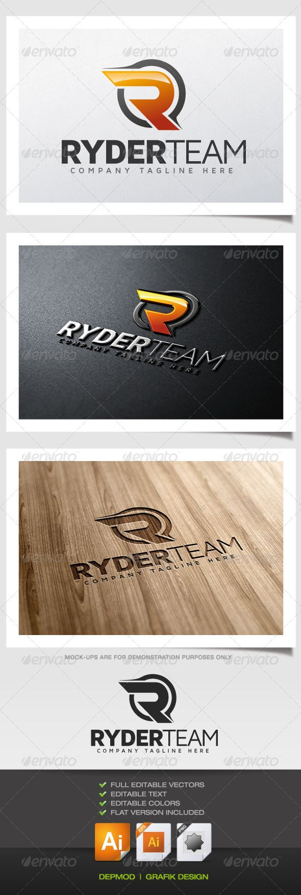 Ryder Team - Logo Design Template Vector #logotype Download it here: http://graphicriver.net/item/ryder-team-logo/5622612?s_rank=971?ref=nexion