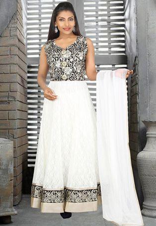 Black Net and Brasso Readymade Abaya Style Churidar Kameez