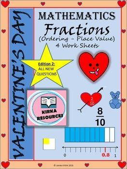 Valentine's Day Math: Fractions (Version 2) - Place value and ordering - 1 Lesson - 4 printable worksheets ranging from easy to hard. Cheap lesson option on (and leading up to) Valentine's Day (with answers). Looking for some math activities to give your children on Valentine's Day? These fractions worksheets with Valentine's Day / Love heart style worksheets could be what you need. These can be used all year round, and are perfect for this time of year. Year / grade 2 3 4 5.
