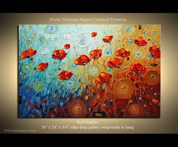 Original  Palette Knife Textured Oil Painting Red by Nizamas, $350.00
