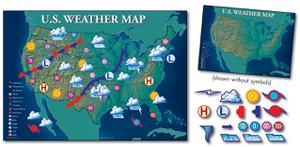 Bulletin Board Set Interactive Weather Map 34X24   CD-1945