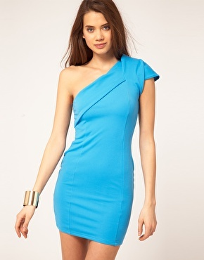 Paprika Origami Dress With One Shoulder - $65