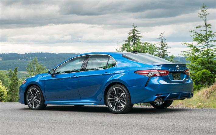 Descargar fondos de pantalla Toyota Camry XSE, 2018, limusina, coches nuevos, azul Camry 2018, los coches Japoneses, Toyota