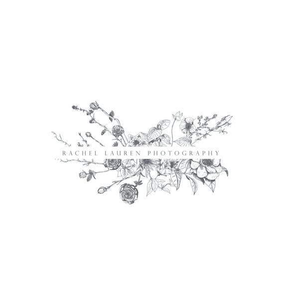 Hand drawn sketched botanical flower Logo  by TheAutumnRabbit