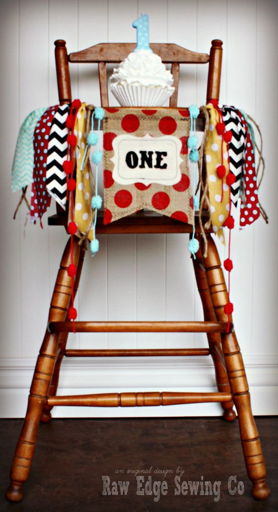 VINTAGE CIRCUS Birthday Highchair High Chair by RawEdgeSewingCo