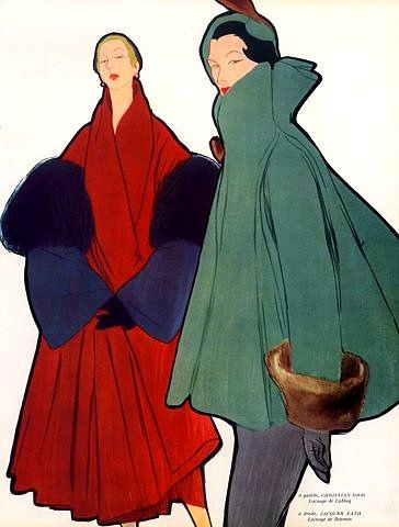 Christian Dior (l) and Jacques Fath (r) coats illustrated by René Gruau, 1948