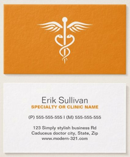 Modern Stylish Orange Medical Doctor Caduceus Business Card