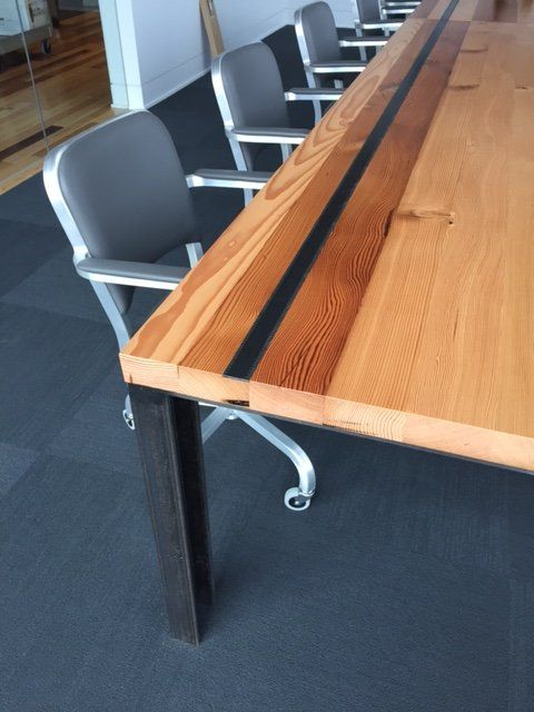 Windfall Lumber Reclaimed Douglas Fir Conference Table with Steel Ruler Inlay and I-Beam base