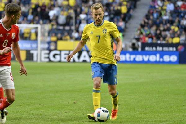 Andy King of Wales and Sebastian Larsson of Sweden during the international friendly between Sweden and Wales at Friends Arena on June 5, 2016 in Solna, Sweden. #Seb