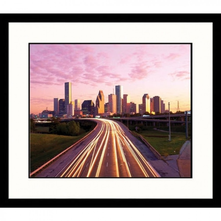 Houston Map Framed%0A Great American Picture Houston Highway and Light Trails Framed Photograph   Richard Stockton  IS