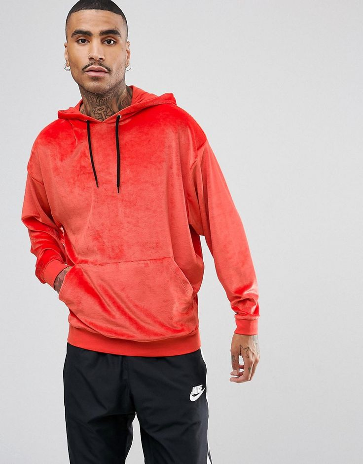 ASOS Oversized Velour Cord Hoodie - Orange
