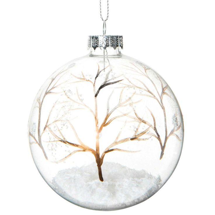 15,54 € |Boule de Noël transparente en verre 8 cm FORÊT ENCHANTÉE Cette boule de Noël transparente sera sublime dans votre sapin