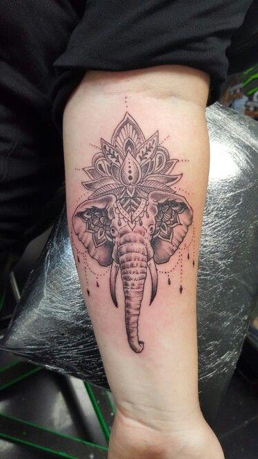 My new tattoo. Elephant lotus xx