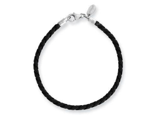 Reflections Sterling Silver Black Leather Lobster Clasp Bead Bracelet 9.00 inches Finejewelers. Save 33 Off!. $19.99