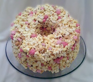 Rice Krispie Cake with Pink M&Ms