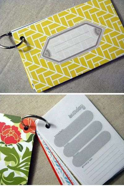 Mini Meal Planner.  A place to plan your meals and make your shopping lists, all in a pretty little book that you can easily carry with you to the grocery store.  I wonder if I could make one of these in a dry-erase form?  Would also be a cute wedding shower idea if filled with favorite recipes and tips, perhaps?
