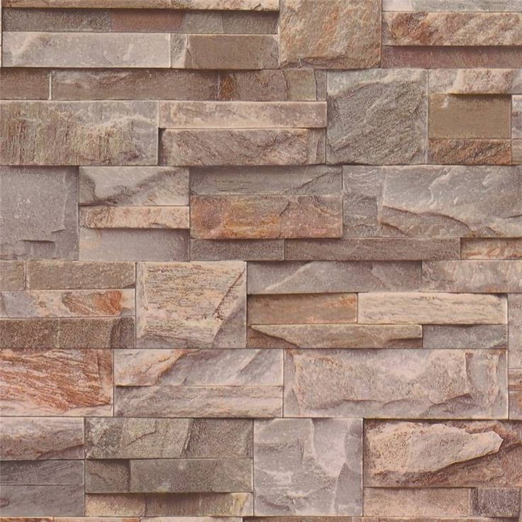 Wow realistic 3d brown slate brick stone effect contoured for 3d effect wallpaper uk