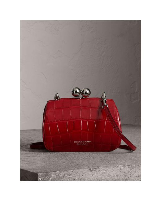 ffa3ab91f2 GABRIELLE'S AMAZING FANTASY CLOSET | Burberry - Red Small Alligator Frame  Bag - Lyst