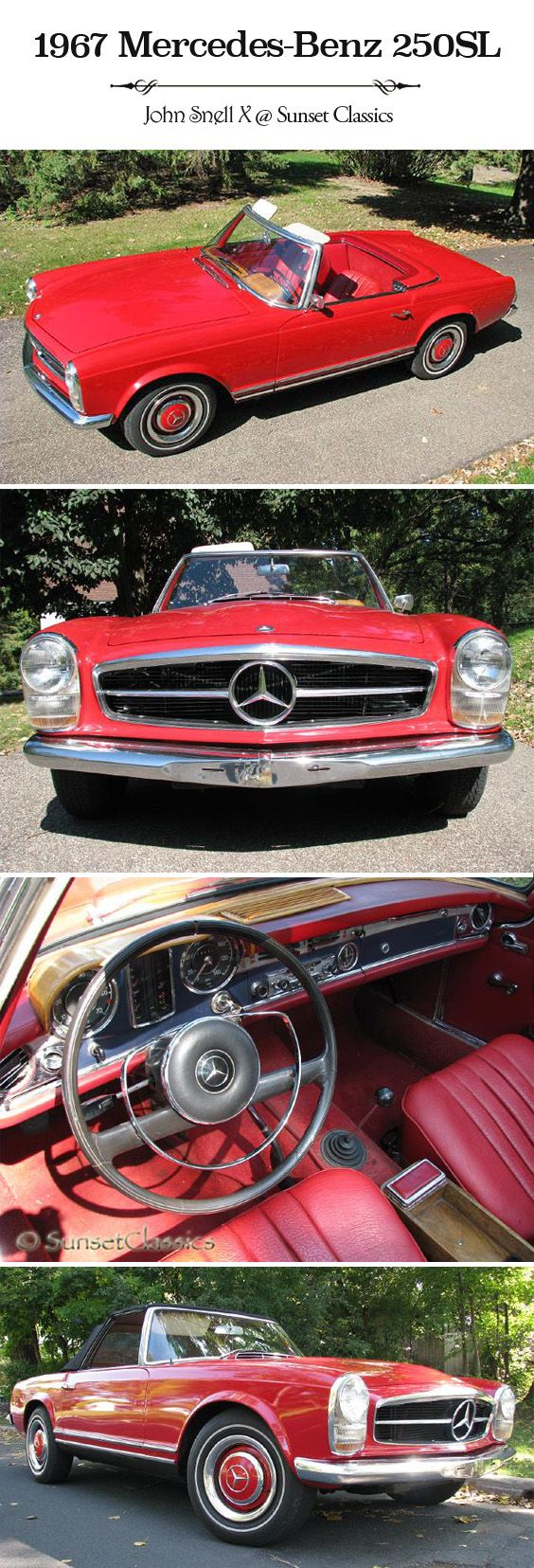 Beautiful rare 1967 Mercedes-Benz 250SL for sale from Sunset Classics. The one year production run of the '67 250 SL makes it the rarest of all W 113 cars! #sunsetclassics #Mercedes #1967