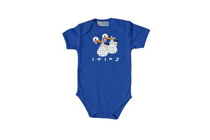 Koningsblauwe romper bij www.twee-en.nl voor de kleine prins en/of prinses