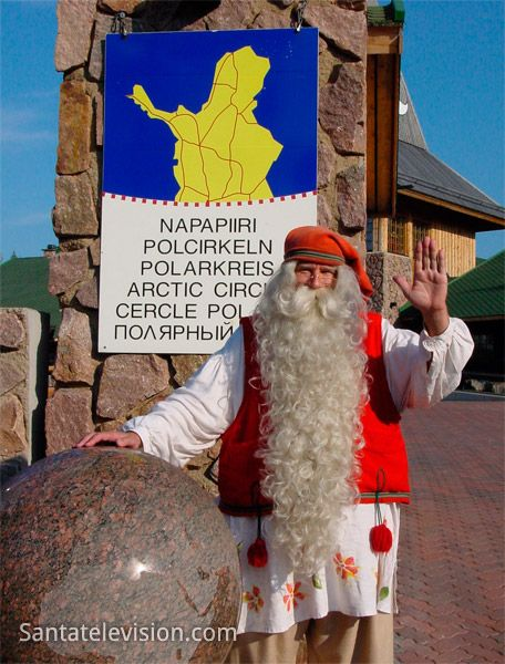 Santa Claus and Arctic Circle line in Rovaniemi in Lapland during summer time.