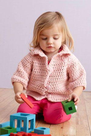 Soft Pink Crocheted Raglan Jacket