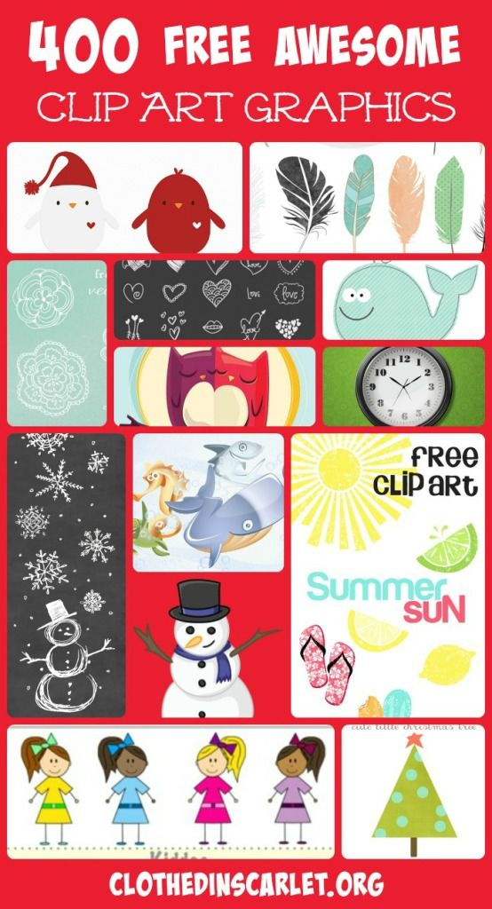 Here are 400 free awesome clip art graphics that you can use to spruce up your images.