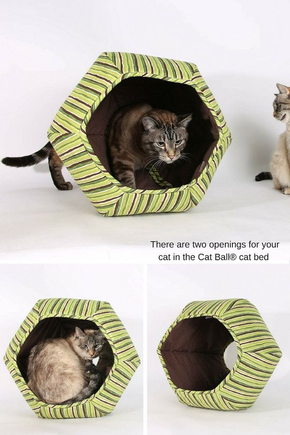 pretty design modern cat bed. Cat Ball modern cat bed in green stripes  The is a hexagonal design Made USA cotton fabric 649 best Toys and Beds images on Pinterest Cats