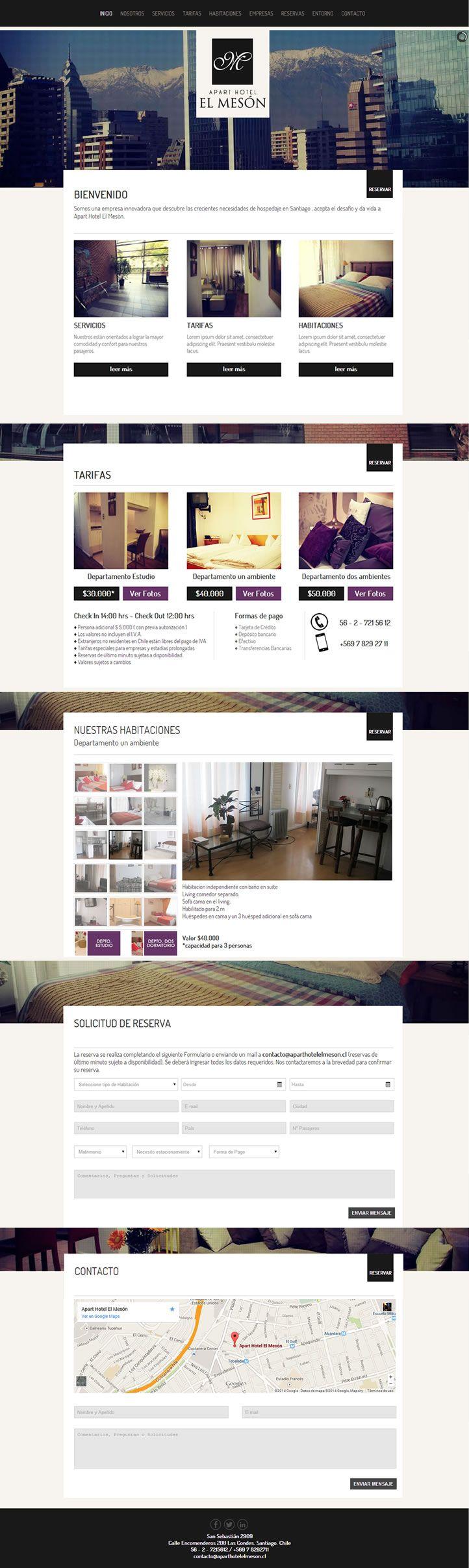 Sitio web desarrollado para El Mesón Apart Hotel http://www.aparthotelelmeson.cl/
