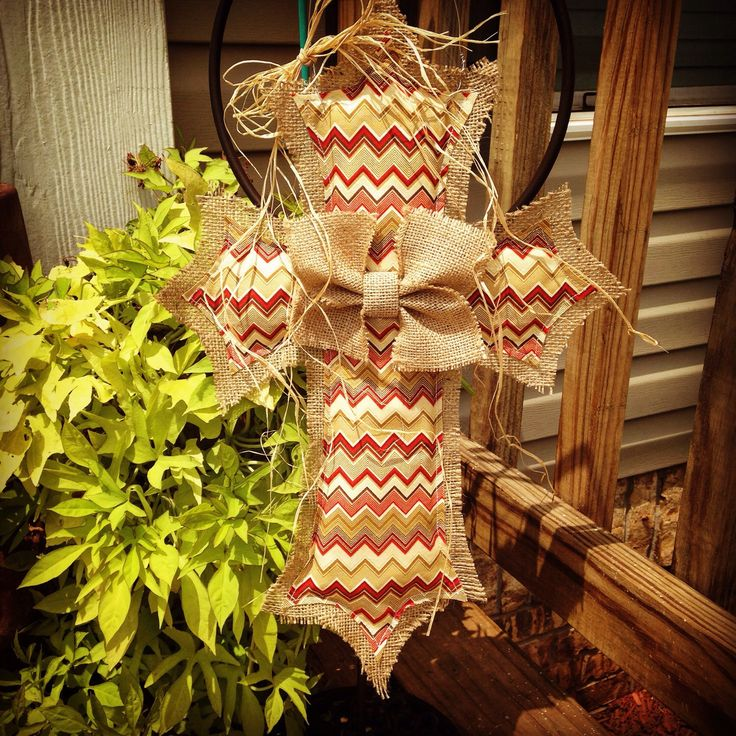 Red & Neutral Chevron Burlap Cross Door Hanger by clrich on Etsy https://www.etsy.com/listing/242907317/red-neutral-chevron-burlap-cross-door
