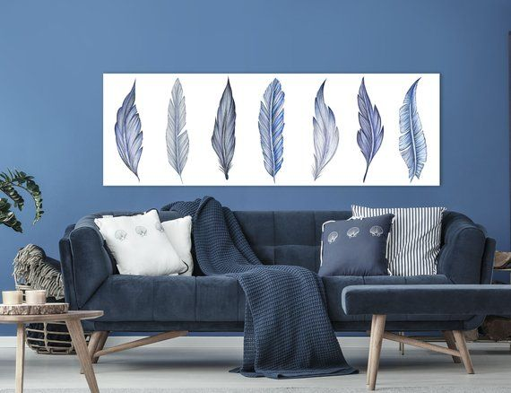 Navy Blue Wall Art Large Canvas Art Navy Blue Feathers Panoramic Wall Art Navy Blue Watercolor Feath Blue Wall Art Canvas Blue Wall Art Navy Blue Wall Art