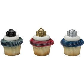 12 cupcake topper rings also can be used as party favors Comes mixed assortment of Darth Vadar C3PO and R2D2. Pictures show example of cupcakes.