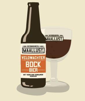 Maallust Bock (6,5%) / Veldwachter Bock. Bockbier zoals vroeger werd gebrouwen. Krachtig, licht zoetig, volmoutig, met tonen van karamel en gebrande mout. Een mooie bruin robijn rode kleur.