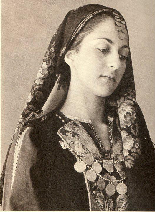 Traditional Greek woman costume.