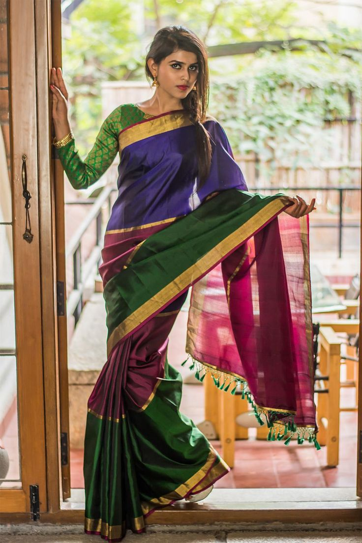 Green maroon blue color block pure Gadwal silk saree #gadwal #colorblock #india #silk #saree #houseofblouse