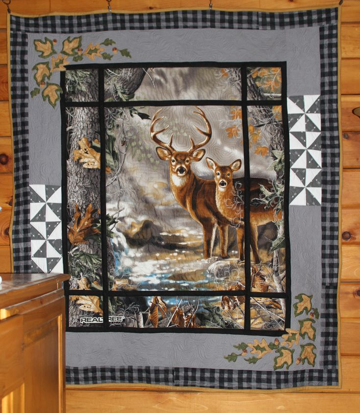 deer in the window panel quilt made by Heathr MK OWLBEESEWIN@BLOGSPOT.COM                                                                                                                                                     More