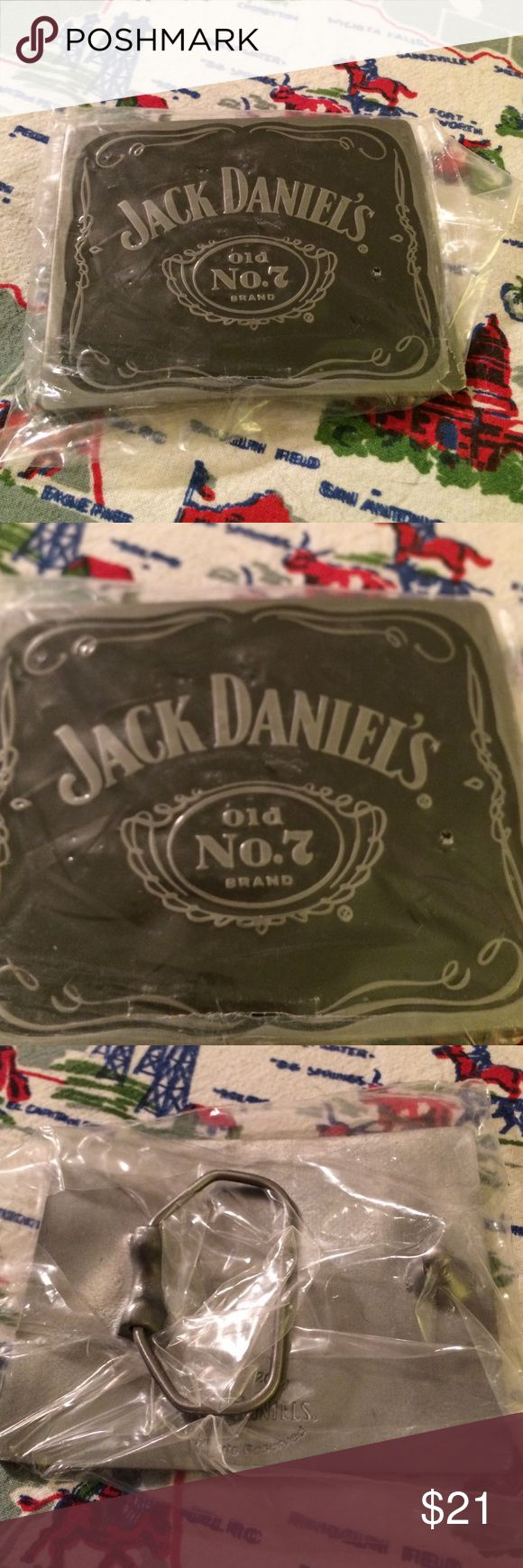 Jack Daniels Belt Buckle NEW New in Package JD buckle with Old No. 7 Logo, measures approx 2X3, Pewter Color Accented in Black - doesn't get much cooler than this🦂 Jack Daniels Boutique Accessories Belts