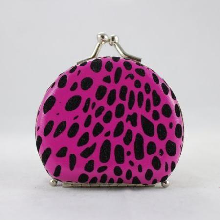 Round Leopard Print Jewelry Travel Case - Hot Pink - 2.6L x 2.2W ...