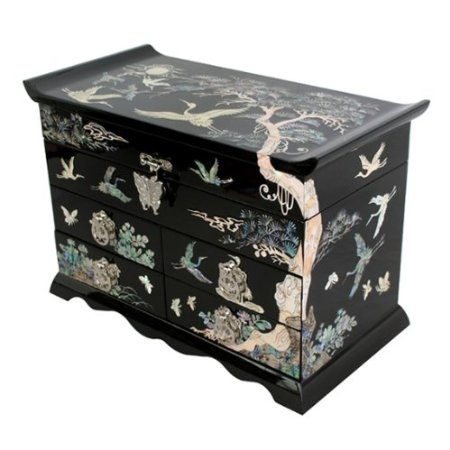 $199 Amazon.com: Mother of Pearl Asian Lacquer Wooden Jewelry Trinket Keepsake Treasure Gift Drawer Box with Pine Tree Design and Mulberry Paper: Home & Kitchen
