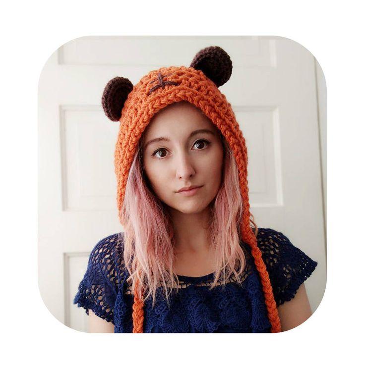 galaxy battle bear hood - cosplay - halloween costume - winter hat - winter hood - bear ears - bear hat - bear hood - orange - vegan by HELLOhappy on Etsy