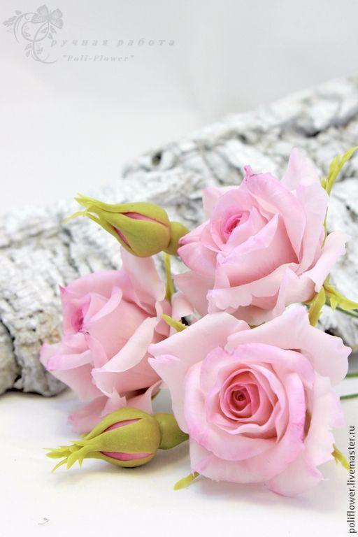 """Розы на шпильках """"Fiore rosa giardino"""". - розовый,белый,розы ручной работы"""