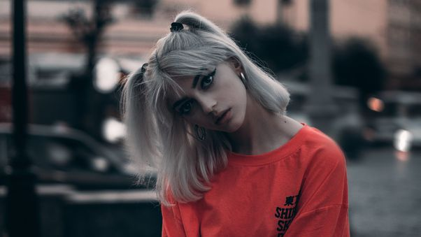 صور بنات الفيس بوك الجديدة Girl Orange Shirt Braid Hairs 4k صور بنات كيوت Photo