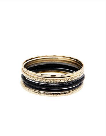 Bershka Portugal - Conjunto pulseiras preto e dourado