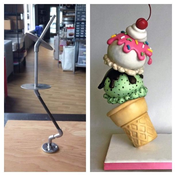 Cake structure, gravity defying cake, ice cream cake. Armature for cakes